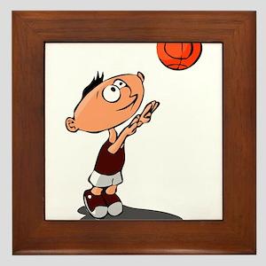 BASKETBALL *39* {crimson/whit Framed Tile