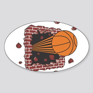 BASKETBALL *42* {orange} Sticker (Oval)