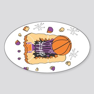 BASKETBALL *44* {purple} Sticker (Oval)