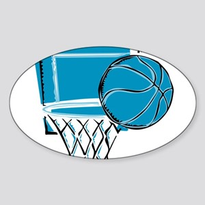 BASKETBALL *52* {blue} Sticker (Oval)