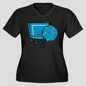 BASKETBALL *52* {blue} Women's Plus Size V-Neck Da
