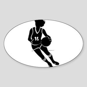 BASKETBALL *61* {black} Sticker (Oval)