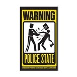 Warning Police State Sticker (Rectangle)