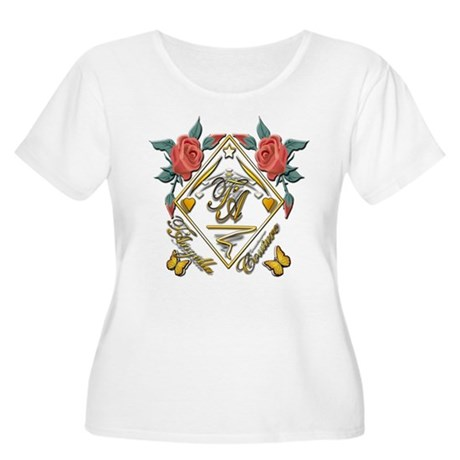 Women's Plus Size Scoop Neck T-Shirt with roses