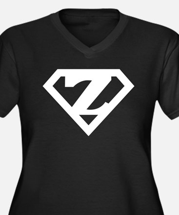 Super White Z Logo Women's Plus Size V-Neck Dark T