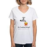 No Fracking Way Women's V-Neck T-Shirt