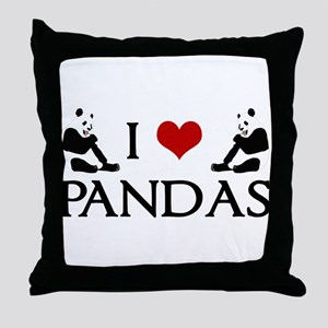 I Heart Pandas Throw Pillow