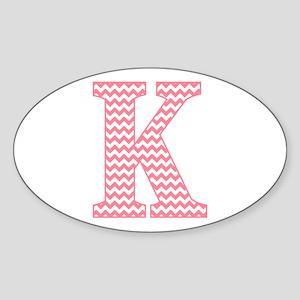Pink Chevron Letter K Monogram Sticker