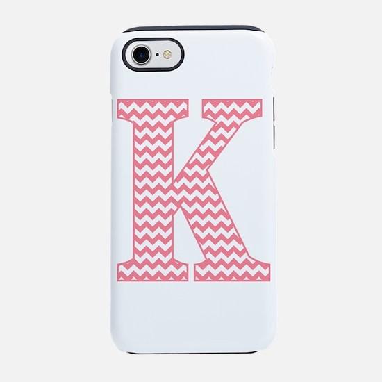 Pink Chevron Letter K Monogram iPhone 7 Tough Case