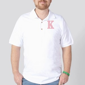 Pink Chevron Letter K Monogram Golf Shirt