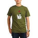 Black Cat and Rose Organic Men's T-Shirt (dark)
