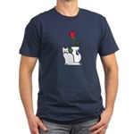 Black Cat and Rose Men's Fitted T-Shirt (dark)