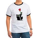 Black Cat and Rose Ringer T