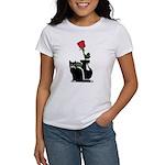Black Cat and Rose Women's T-Shirt