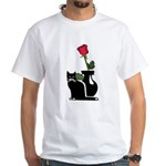 Black Cat and Rose White T-Shirt