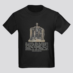 Lincoln on Revolutionary Right Kids Dark T-Shirt