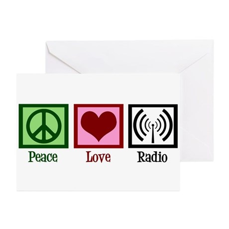 Peace Love Radio Greeting Cards (Pk of 10)