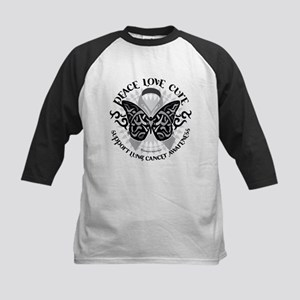 Lung Cancer Butterfly Tribal Kids Baseball Jersey