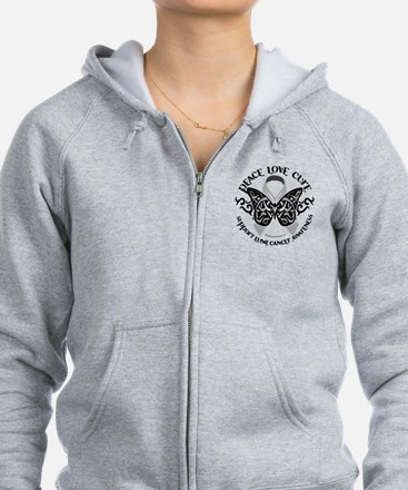 Lung Cancer Butterfly Tribal Zip Hoodie