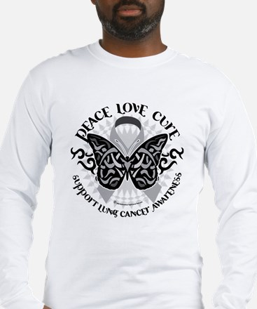 Lung Cancer Butterfly Tribal Long Sleeve T-Shirt