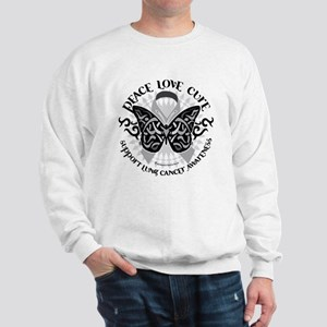 Lung Cancer Butterfly Tribal Sweatshirt