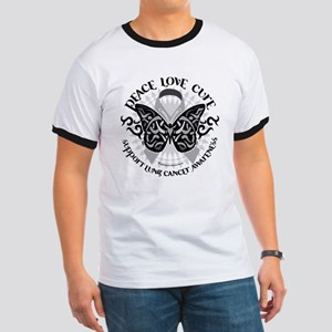 Lung Cancer Butterfly Tribal Ringer T