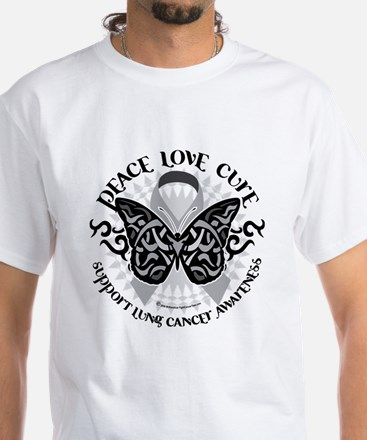 Lung Cancer Butterfly Tribal White T-Shirt