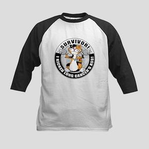 Lung Cancer Cat Survivor Kids Baseball Jersey