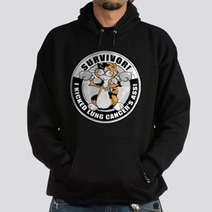 Lung Cancer Cat Survivor Hoodie (dark)