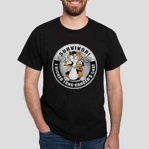 Lung Cancer Cat Survivor Dark T-Shirt