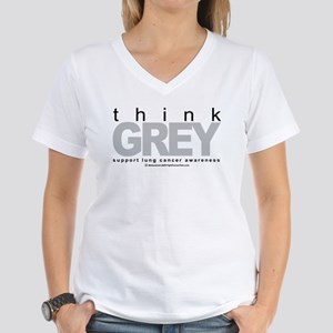 Lung Cancer Think Grey Women's V-Neck T-Shirt
