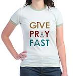 Give Pray Fast Jr. Ringer T-Shirt