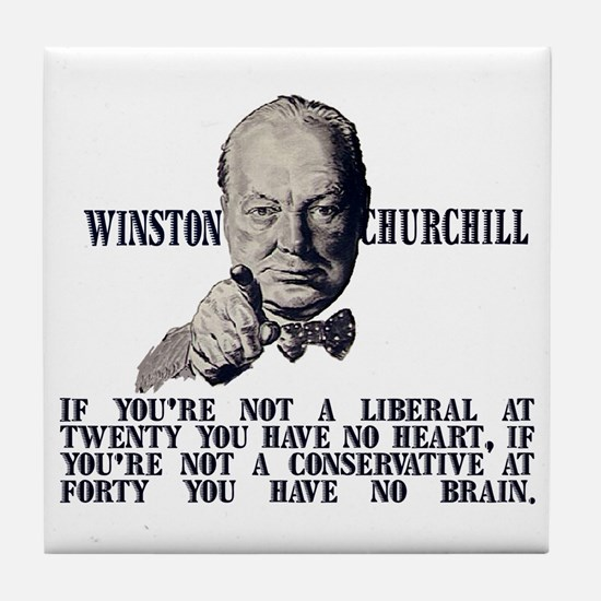 Churchill on Conservatives Tile Coaster