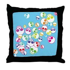 Colorful Skulls Throw Pillow