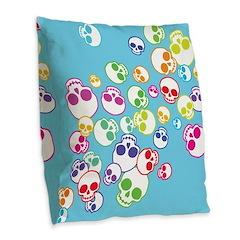 Colorful Skulls Burlap Throw Pillow