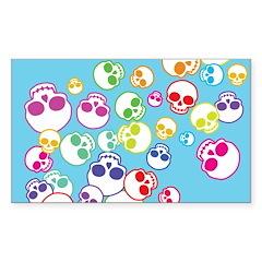 Colorful Skulls Sticker (Rectangle)