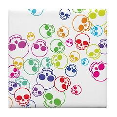 Colorful Skulls Tile Coaster