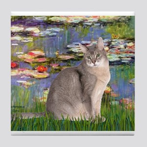 Lilies 2 / Blue Abyssinian cat Tile Coaster