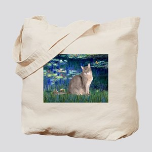 Lilies 5 / Blue Abyssinian cat Tote Bag