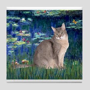 Lilies 5 / Blue Abyssinian cat Tile Coaster