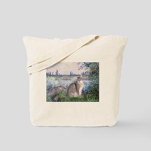 Seine / Blue Abbysinian cat Tote Bag