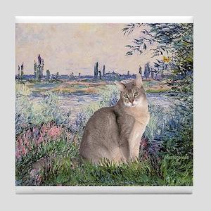 Seine / Blue Abbysinian cat Tile Coaster