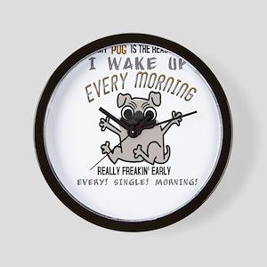 Morning Pug Hugs Wall Clock