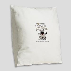 Morning Pug Hugs Burlap Throw Pillow