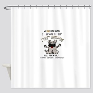 Morning Pug Hugs Shower Curtain