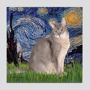 Starry / Blue Abyssinian cat Tile Coaster
