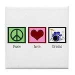 Peace Love Drums Tile Coaster
