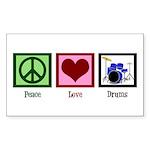 Peace Love Drums Sticker (Rectangle)