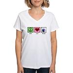 Peace Love Drums Women's V-Neck T-Shirt