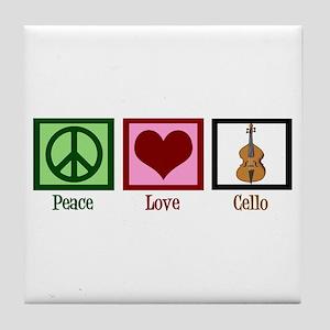 Peace Love Cello Tile Coaster